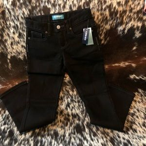 Black skinny adjustable waist pants
